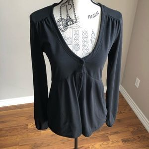 lole V-neck sweater/cardigan black 3 button close